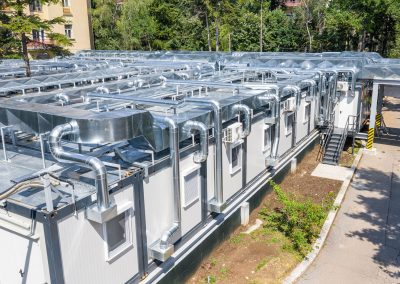 "Building infrastructure / Hospitals – ""Give Life"" Association – Bucharest, Romania – Elias 1 Modular Hospital – Design and installation of steel structure, electrical (LV), low currents, HVAC, plumbing"